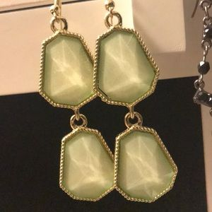 Soft mint green & gold earrings